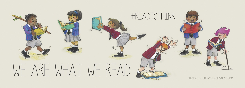 Illustration of people reading by Jeff Davis